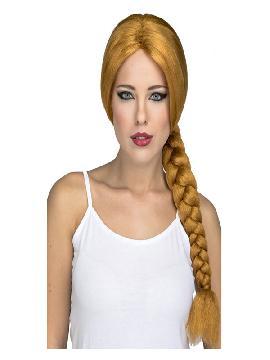 peluca castaña con trenza larga