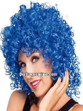 peluca club rizo azul