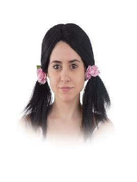 peluca coletas con flores negra