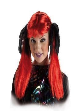 peluca con coletas rojas y negras