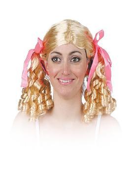 peluca con coletas de tirabuzones y lazos rosas varios colores