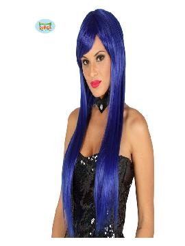 peluca con flequillo azul electrica lisa mujer