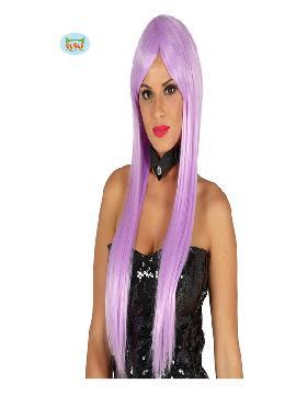 peluca con flequillo morada lisa mujer