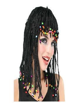 peluca con trenzas negras reggae adulto