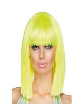 peluca corta con flequillo dance neon amarillo