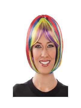 peluca corta con flequillo multicolor adulto