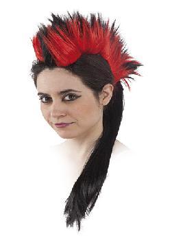 peluca cresta con diadema negra y roja