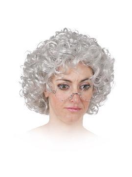 peluca de abuela anciana gris rizada