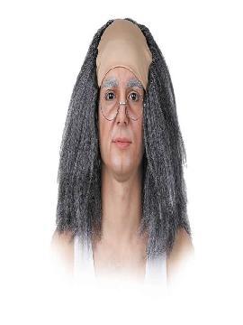 peluca de anciano gris