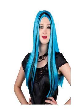 peluca de bruja azul con mechon larga