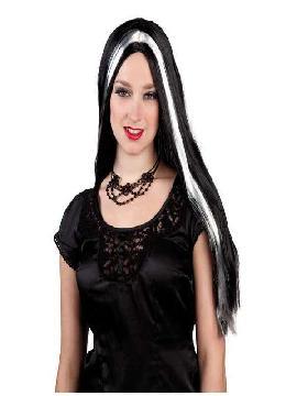 peluca de bruja larga negra con mechon