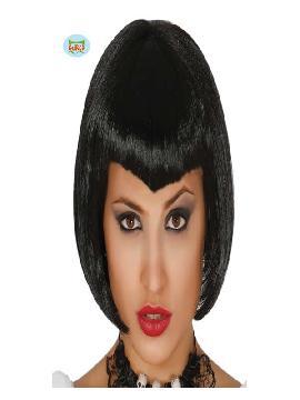 peluca de bruja negra corta con flequillo