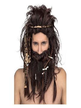 peluca de cavernicola castaña