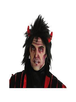 peluca de diablo negra con cuernos
