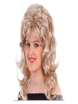 peluca de disco rubia mujer