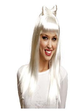 peluca de diva del pop star blanca con lazo