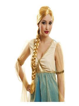 peluca de doncella lady con trenza rubia