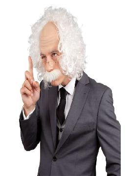 peluca de einstein cientifico con gafas