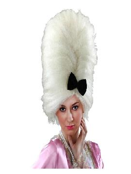 peluca de epoca blanca con lazo