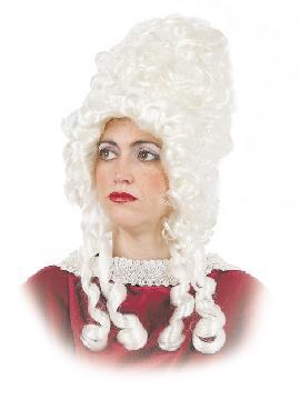 peluca de epoca señora con tirabuzones blanca