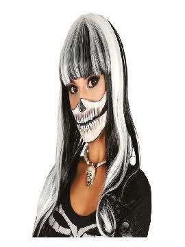 peluca de esqueleto blanca y negra lisa mujer