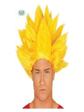 peluca de guerrero vegeta amarilla adulto
