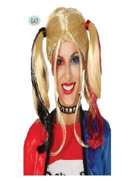peluca de harley quinn rubia con coletas