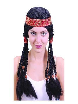 peluca de india trenzas negras