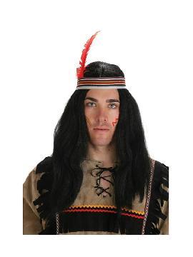 peluca de indio larga negra