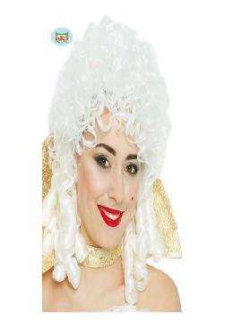 peluca de maria antonieta blanca mujer