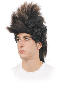 peluca de mohicano pelos de punta y melena por atras