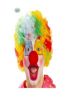 peluca de payaso multicolor adulto