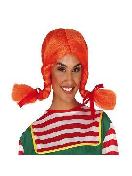 peluca de pipi naranja con trezas en caja