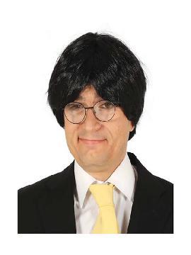 peluca de politico corta negra
