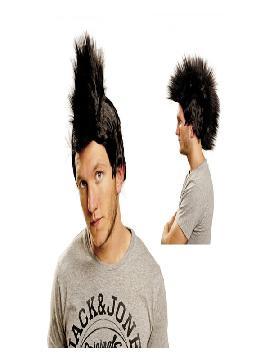 peluca de punky con cresta negra