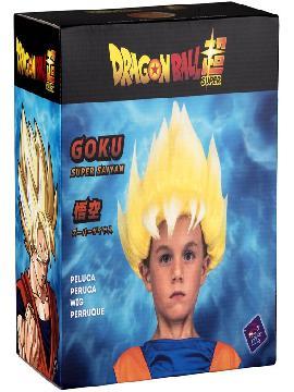 peluca de saiyan goku de dragon ball en caja niño