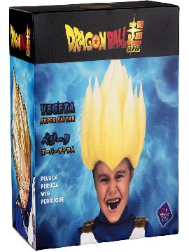 peluca de saiyan vegeta de dragon ball en caja niño