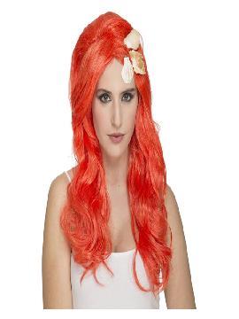 peluca de sirenita naranja con conchas marinas