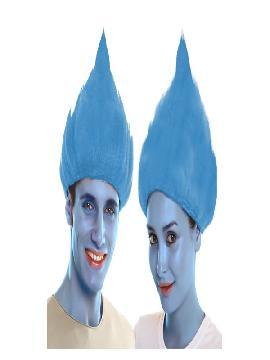 peluca de troll azul