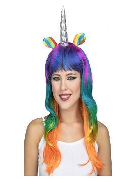 peluca de unicornio multicolor con cuerno y orejas