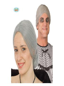 peluca de vieja con moño gris