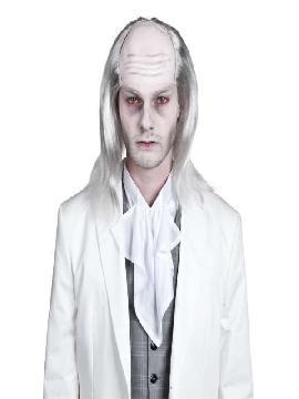 peluca de zombie con calva blanca
