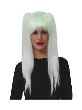 peluca fluorescente con coletas lisa