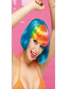 peluca giggles corta con flequillo multicolor