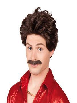 peluca castaña de gigolo con bigote