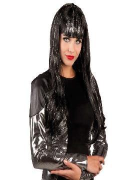 peluca glamour negra larga