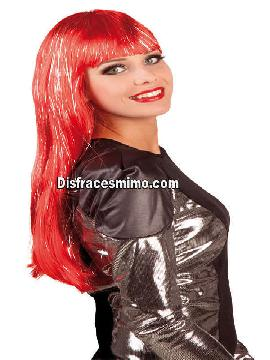 peluca glamour roja larga con mechas