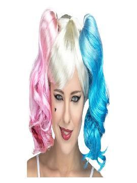 peluca harley queen azul y rosa con coletas