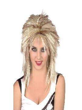 peluca heavy rubia con mechas marrones