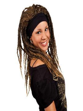 peluca de hippie con rastas morena